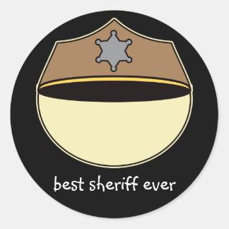 Meilleur shérif fait sur commande jamais sticker rond