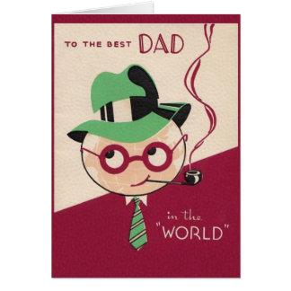 Meilleure carte vintage de fête des pères de papa