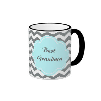 meilleure grand-maman moderne de chevron gris et mug ringer