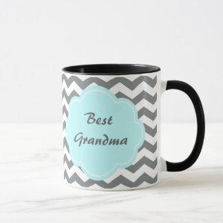 meilleure grand-maman moderne de chevron gris et tasses