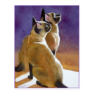 Meilleurs amis, chats siamois carte postale