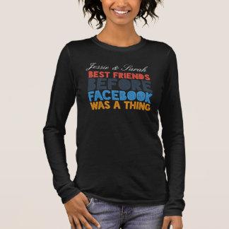 Meilleurs amis faits sur commande avant Facebook T-shirt À Manches Longues