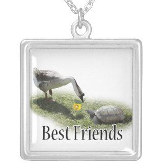 Meilleurs amis - la tortue et l'oie pendentif carré