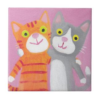meilleurs amis, soeurs, tuile de chats petit carreau carré