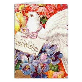 Meilleurs voeux la colombe victorienne fleurit carte de vœux