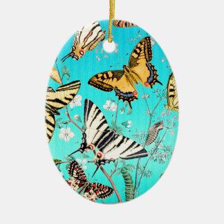 Mélange bleu de papillon ornement ovale en céramique