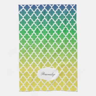 Mélange bleu, vert et jaune de Quatrefoil Serviette Pour Les Mains