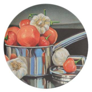 Mélange d'ail de poivre de tomate assiette
