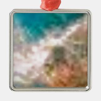 mélange de terre et de mer ornement carré argenté