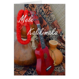 Mele Kalikimaka avec le ruban rouge Lei Carte De Vœux