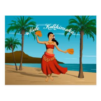 Mele vintage hawaïen Kalikimaka personnalisable Carte Postale