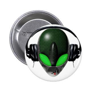 Mélomane étranger du DJ - vert de reptile Badge Avec Épingle
