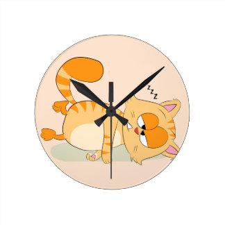 Même le chat déteste lundi horloge ronde