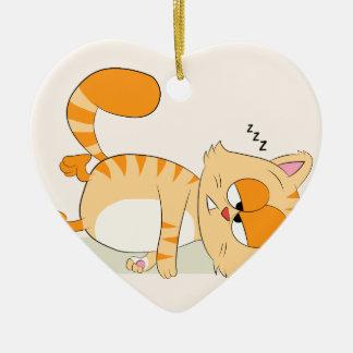 Même le chat déteste lundi ornement cœur en céramique