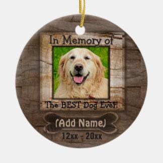 Mémorial de chien ornement rond en céramique