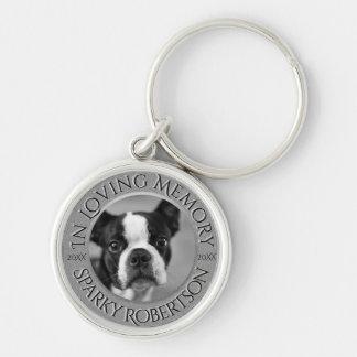 Mémorial personnalisé de chien porte-clé rond argenté