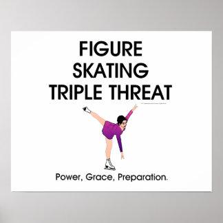 Menace SUPÉRIEURE de triple de patinage artistique Posters