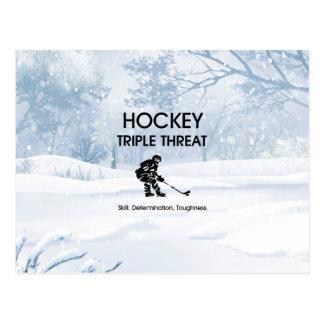 Menace SUPÉRIEURE de triple d'hockey Cartes Postales