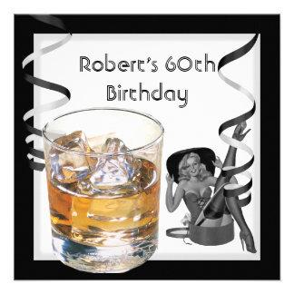 Mens 60th Birthday Party Retro Girl PINUP Scotch Invite