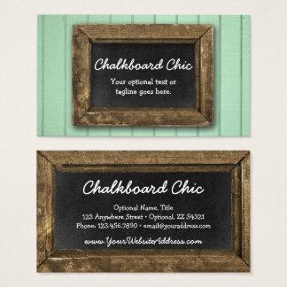 Menthe chic minable de cadre en bois rustique de cartes de visite
