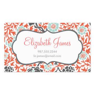 Menthe de gris et rétro damassé florale de corail cartes de visite personnelles