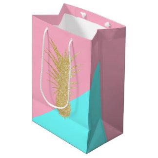 menthe élégante de rose d'ananas de scintillement sac cadeau moyen