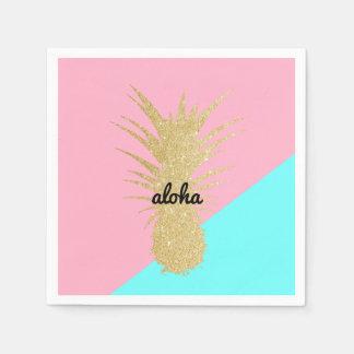 menthe élégante de rose d'ananas de scintillement serviette jetable