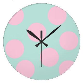 menthe élégante et points roses grande horloge ronde