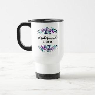 Menthe et demoiselle d'honneur florale pourpre de mug de voyage