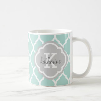 Menthe et monogramme gris de Quatrefoil de Mug