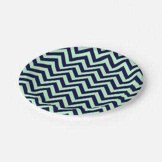 Menthe, motif de zigzag de Chevron de bleu marine Assiettes En Papier