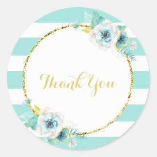 Menthe, or et autocollants floraux blancs de Merci