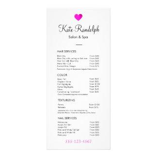Menu blanc de listes des prix de coiffeur rose de