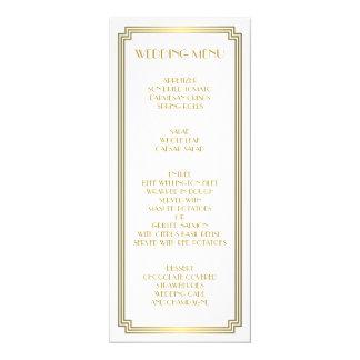 Menu blanc de mariage de grand de Gatsby or d'art Carton D'invitation 10,16 Cm X 23,49 Cm
