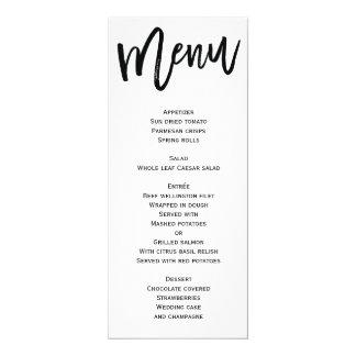 Menu blanc et noir de mariage personnalisé carton d'invitation  10,16 cm x 23,49 cm