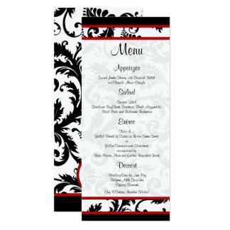Menu blanc noir rouge de monogramme de damassé carton d'invitation  10,16 cm x 23,49 cm