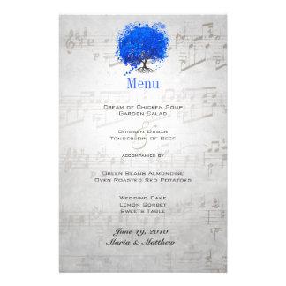 Menu bleu de mariage d'arbre de feuille de coeur