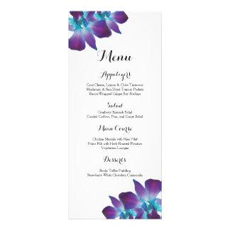 Menu bleu de mariage d'orchidée de Dendrobium