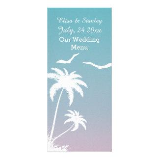 Menu bleu de palmier et rose tropical de mariage carte double