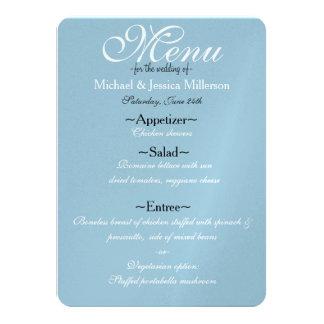 Menu bleu et blanc de mariage de Quatrefoil Carton D'invitation 11,43 Cm X 15,87 Cm