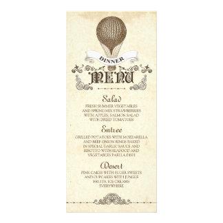 Menu chaud vintage de dîner de mariage de ballon à double carte