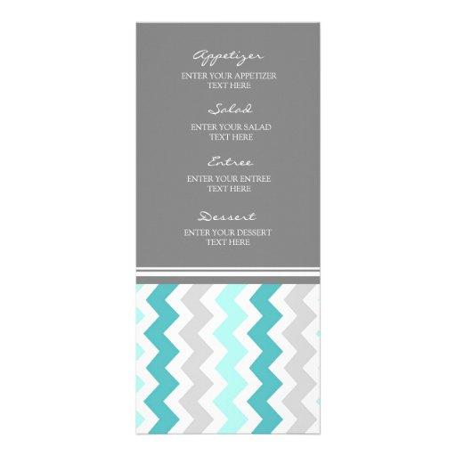 Menu Chevron gris turquoise de mariage Carte Double En Couleur