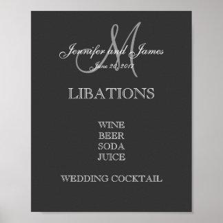 Menu de barre de mariage posters