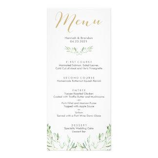 Menu de mariage de branche d'olivier de verdure