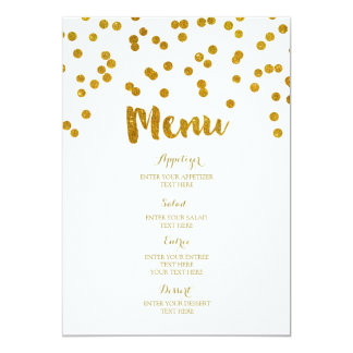 Menu de mariage de confettis d'or carton d'invitation  12,7 cm x 17,78 cm