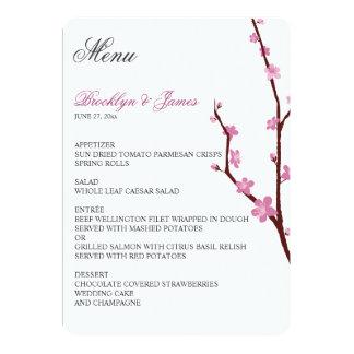 Menu de mariage de fleurs de cerisier carton d'invitation  12,7 cm x 17,78 cm