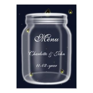 menu de mariage de pot de maçon de lucioles carton d'invitation  12,7 cm x 17,78 cm
