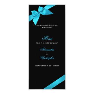 Menu de mariage de ruban de turquoise carton d'invitation  10,16 cm x 23,49 cm