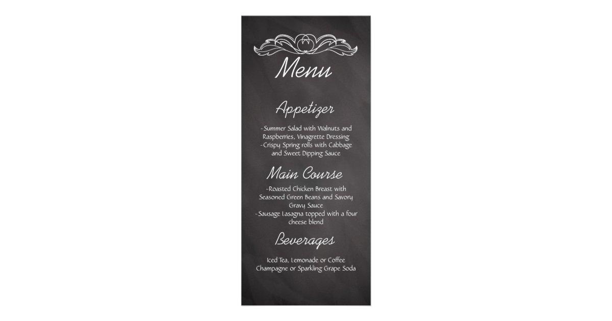 menu de mariage de tableau d 39 ardoise cartons d 39 informations 10 cm x 22 9 cm zazzle. Black Bedroom Furniture Sets. Home Design Ideas