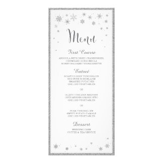 Menu de mariage d'hiver/menu mariage de flocon de motif pour double carte